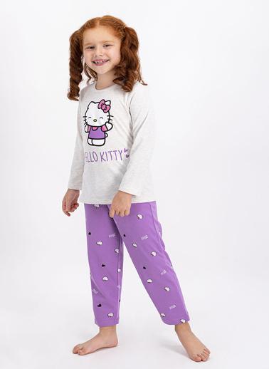 Hello Kitty Hello Kitty Lisanslı Kremmelanj Kız Çocuk Pijama Takımı Krem